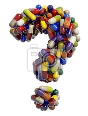 Fragezeichen der medizinische Tabletten, 3D