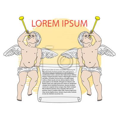 Frame mit kleinen Engel spielen Trompeten. Vektor-Illustration, Element für Design, Logo oder Art und Weisedruck.