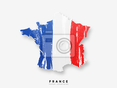 Bild France detailed map with flag of country. Painted in watercolor paint colors in the national flag
