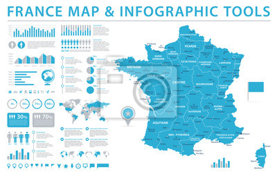 Bild Frankreich Karte - Info Grafik Vektor-Illustration