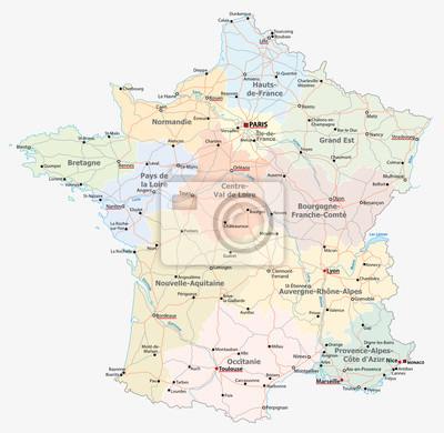 Bild Frankreich Straße, administrative und politische Vektorkarte