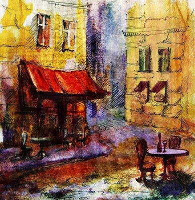 Bild Französisch Außen european cafe Malerei, Grafik, Zeichnung, Farbe