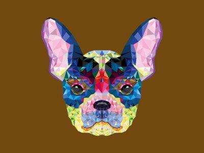 Bild Französisch Bulldogge Kopf in geometrische Muster