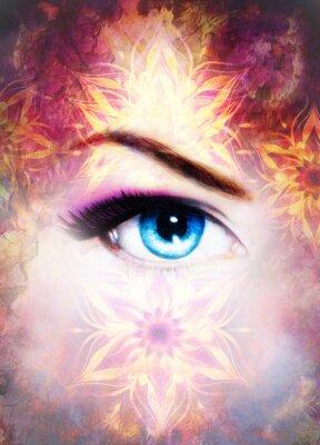 Bild Frau Auge und Mandala, abstrakte Farbe Hintergrund und Wüste Knistern.