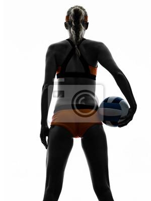 Frau Beachvolleyball-Spieler Silhouette