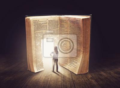 Frau bei großen Buch