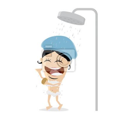 Dusche clipart  Frau, die eine dusche clipart leinwandbilder • bilder Routine ...