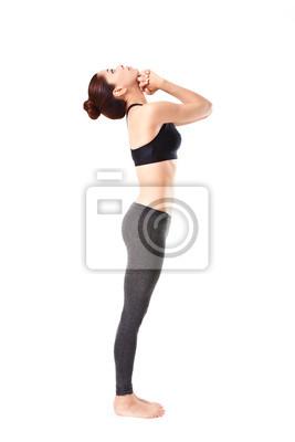 Bild Frau, die eine Yoga-Pose: Stehend tiefe Atmung - Pranayama