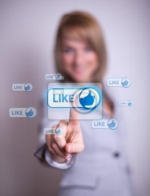 Bild Frau Drücken sozialen Netzwerk-Symbol