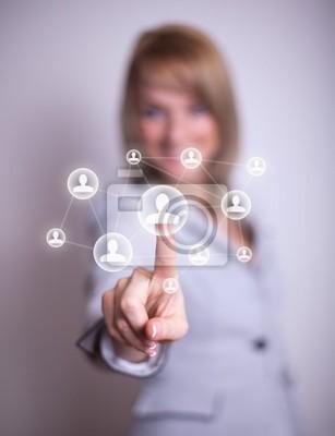Frau Drücken sozialen Netzwerk-Symbol