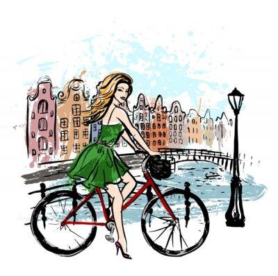 Bild Frau Fahren Fahrrad