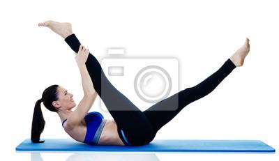 Frau Fitness Pilates Übungen isoliert