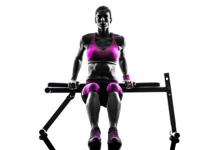 Bild Frau Fitness Push-ups Übungen Silhouette