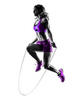 Bild Frau Fitness Springen Seil Übungen Silhouette