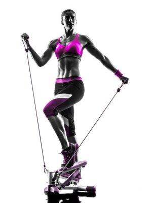Bild Frau Fitness Stepper Silhouette