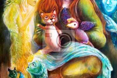 Frau Geschichtenerzähler mit Puppen und Schutzgeister, Fantasie