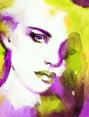 Bild Frau Gesicht. Handgemalte Modeillustration