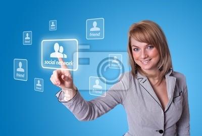 Frau Hand drücken Social Network-Symbol