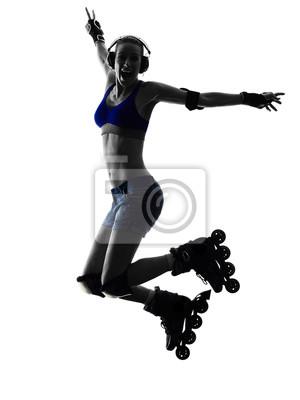 Frau in Rollschuhen Silhouette