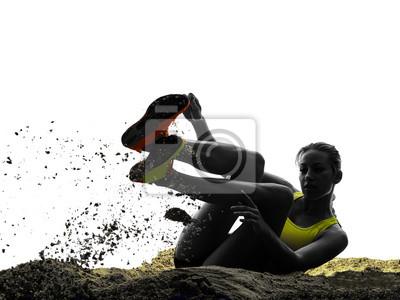 Frau lange springen isoliert Silhouette