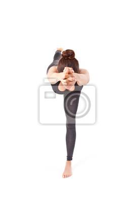 Bild Frau macht eine Yoga Pose: Balancing Stick-Pose - Tuladandasana