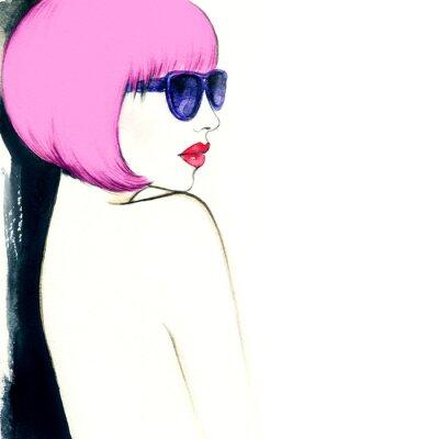 Bild Frau mit Brille. Aquarellabbildung