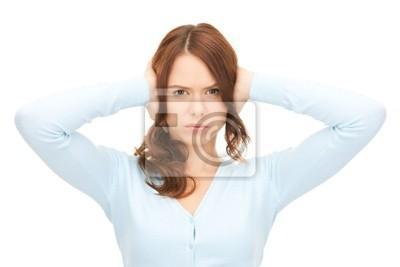 Frau mit den Händen auf die Ohren