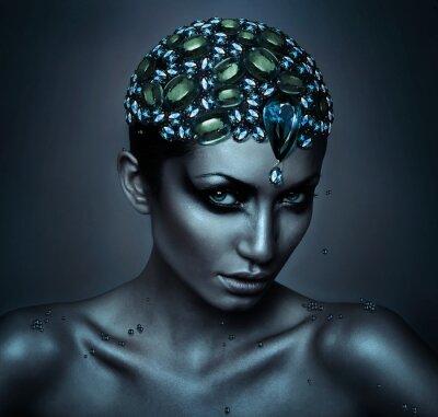 Bild Frau mit Edelstein Kopf