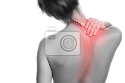 Bild Frau mit Schmerzen im Rücken und Nacken