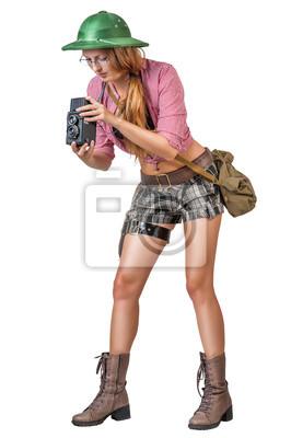 Frau mit Vintage-Kamera auf weißem Hintergrund