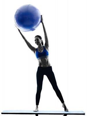 Bild Frau Pilates Ball Übungen Fitness isoliert