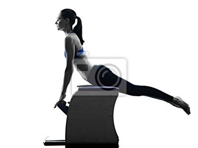 Frau Pilates Stuhl Übungen Fitness isoliert