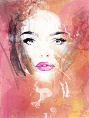 Bild Frau Porträt .abstract Aquarell