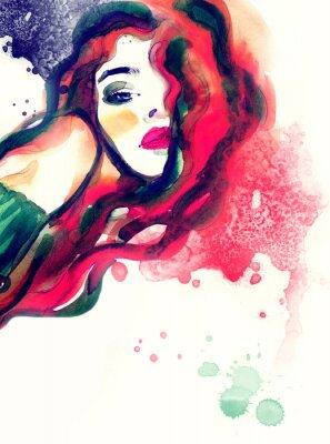 Bild Frau Porträt, abstrakte Aquarell