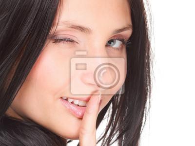 Frau ruhig Geste Finger auf den Mund isoliert
