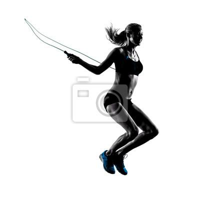 Frau Springen Seil Übungen Silhouette