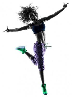 Bild Frau Tänzer tanzen Zumba Übungen silhouette