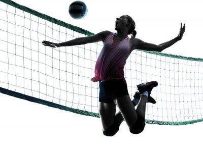 Bild Frau Volleyballer isoliert Silhouette