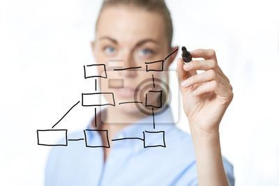 Frau Zeichnung ein Diagramm auf einer virtuellen Schnittstelle