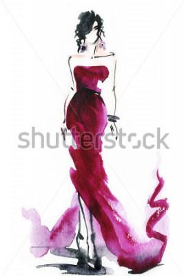 Bild Frauen mit elegantem Kleid. abstrakter Aquarell. Modehintergrund
