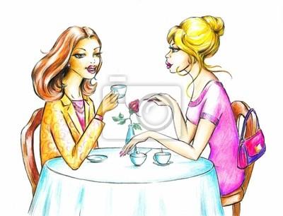 Frauen trinken Kaffee.