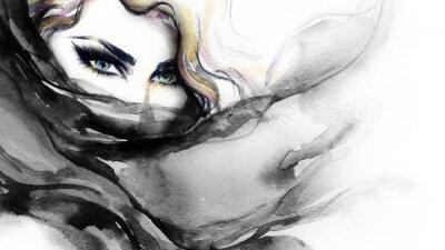 Bild Frauengesicht. Art und Weiseabbildung. Aquarellmalerei