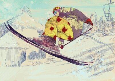 Bild Free style Skifahrer, trick (dies ist die Zeichnung in Vektor umgewandelt)