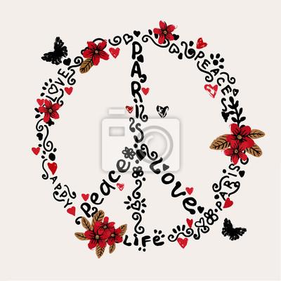 Bild Freihändiger Frieden, Liebe, Paris Abbildung mit Blumen.
