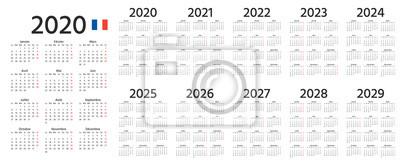 Bild French Calendar 2020, 2021, 2022, 2023, 2024, 2025, 2026, 2027, 2028, 2029 years. Vector. Week starts Monday. France vertical calender template. Yearly pocket organizer in minimal design.