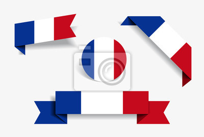 Bild French flag stickers and labels. Vector illustration.