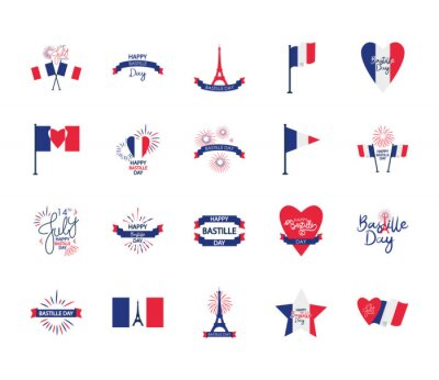 Bild french flags and Bastille day icon set, flat style