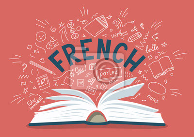 Bild French. Open book with language hand drawn doodles and lettering.