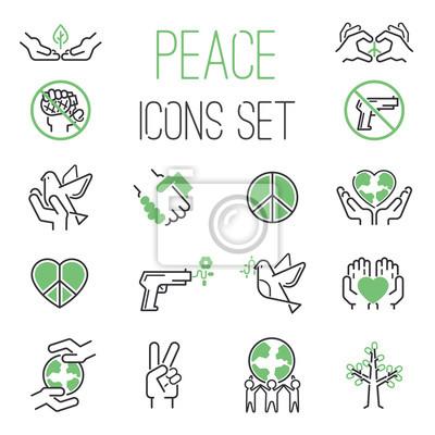 Frieden Symbole Umreißen Mono Vektor Symbole Welt Hoffnung Frieden