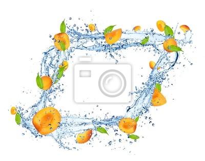 Bild Frische Brombeeren in Wasser Splash auf weißem Hintergrund
